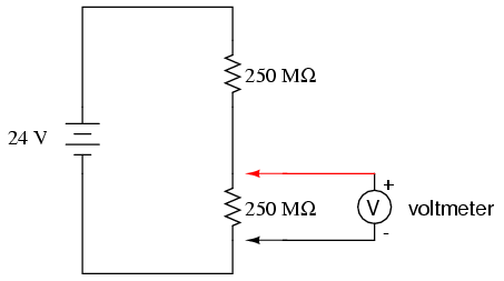 voltmeter impact on measured circuit dc metering circuits rh allaboutcircuits com AC Voltmeter Wiring-Diagram Stewart Warner Voltmeter Wiring-Diagram