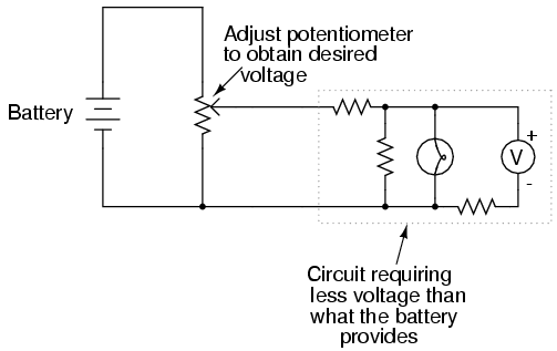 voltage divider circuits divider circuits and kirchhoff s laws rh allaboutcircuits com Potentiometer Current Divider Potentiometer Circuit