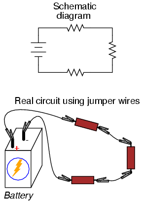 building simple resistor circuits series and parallel circuitsif we wanted to build a simple series circuit with one battery and three resistors, the same \u201cpoint to point\u201d construction technique using jumper wires