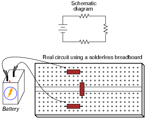 building simple resistor circuits series and parallel circuits rh allaboutcircuits com Breadboard Circuit Breadboard Contacts
