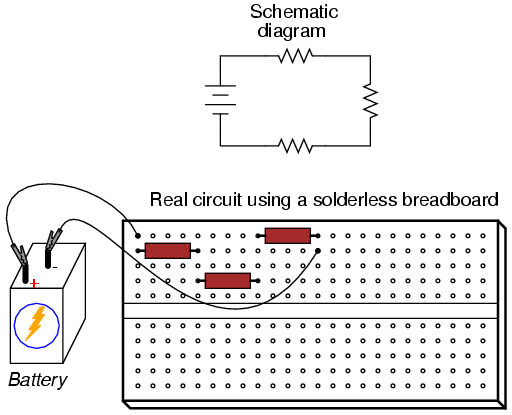 building simple resistor circuits series and parallel circuits rh allaboutcircuits com Breadboard Wire Size Negative Logic Circuit Breadboard