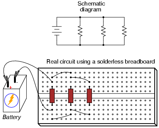 building simple resistor circuits series and parallel circuits rh allaboutcircuits com The Circuit On Breadboards Are All Connected circuit diagram to breadboard software