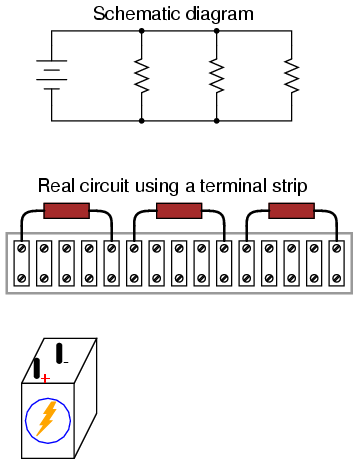 building simple resistor circuits series and parallel circuits Pin Wiring Diagram next, trace the wire connection from one side of the battery to the first component in the schematic, securing a connecting wire between the same two points