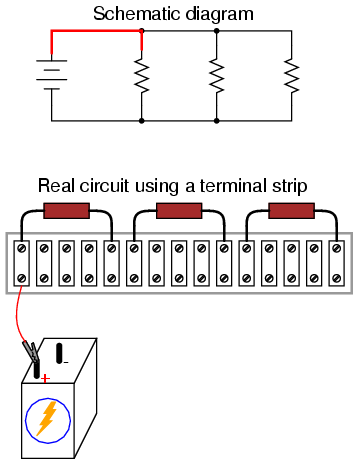 building simple resistor circuits series and parallel circuits rh allaboutcircuits com Breadboard Circuit Breadboard Circuit Work