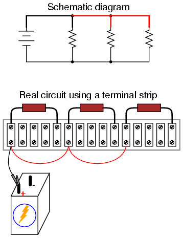 building simple resistor circuits series and parallel circuits rh allaboutcircuits com Automotive Wiring 3V LED End Line Resistor Wiring Diagram