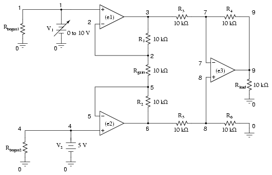 example circuits and netlists using the spice circuit simulationexample instrumentation amplifier circuit