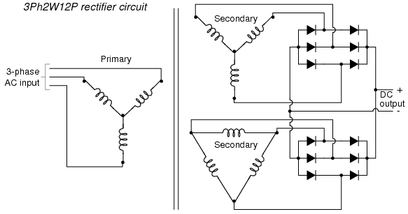 480 to 2 30 3 phase transformer wiring delta rectifier circuits diodes and rectifiers electronics #14