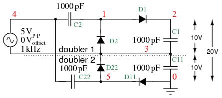 Voltage Multiplier Circuit Diagram   Voltage Multipliers Doublers Triplers Quadruplers And More