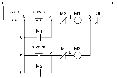 Motor control circuits ladder logic electronics textbook for Forward reverse dc motor control circuit