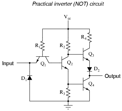 the not gate logic gates electronics textbook rh allaboutcircuits com circuit diagram of not gate using diodes circuit diagram of nor gate using cmos