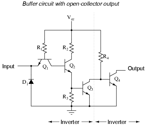 Circuit Diagram Of Simple Inverter | The Buffer Gate Logic Gates Electronics Textbook