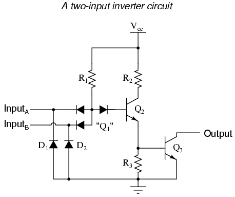 ttl nand and and gates logic gates electronics textbook rh allaboutcircuits com ttl circuit diagram of and gate ttl to rs232 converter circuit diagram