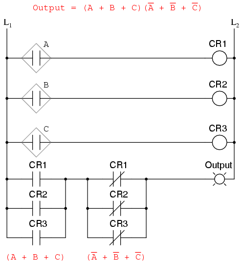 """The previous two circuits represent different versions of the """"sensor disagreement"""" logic circuit only, not the """"good flame"""" detection circuit(s)."""