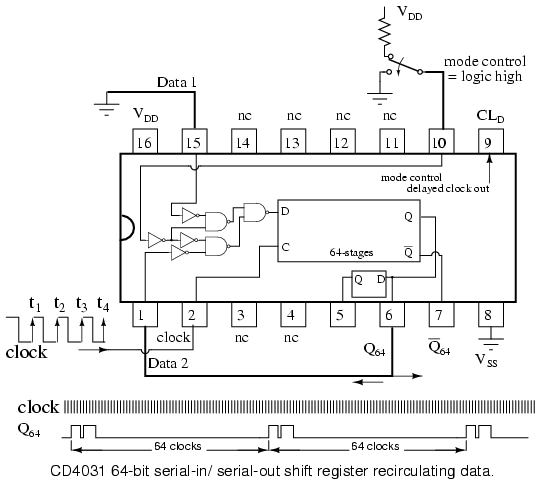 shift registers serial in serial out shift registers rh allaboutcircuits com Parallel to Serial Shift Register Shift Register Timing Diagram