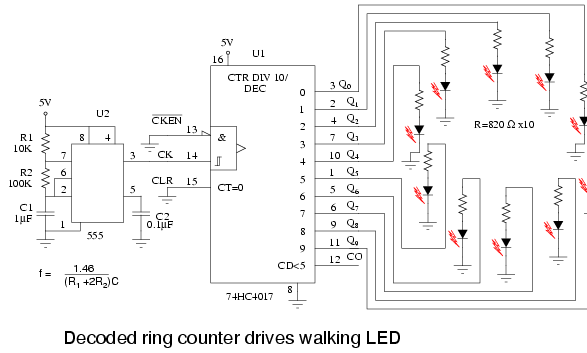 Decade Counter Circuit With 4017