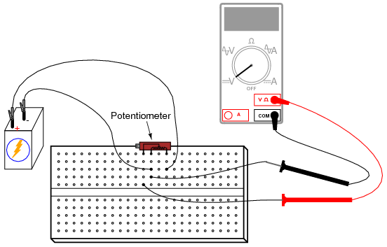 potentiometer as a voltage divider dc circuits electronics textbook rh allaboutcircuits com Potentiometer Circuit Potentiometer Circuit