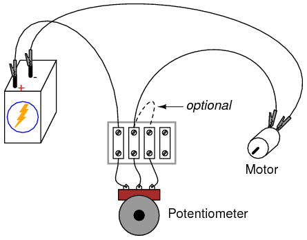 Dc motor speed control potentiometer