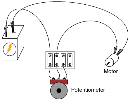 Potentiometer Rheostat on motor connection