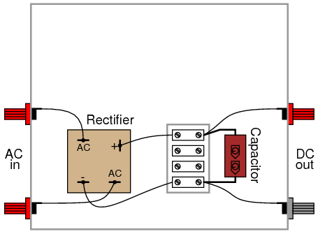Rectifier Filter Circuit on 4 terminal capacitor