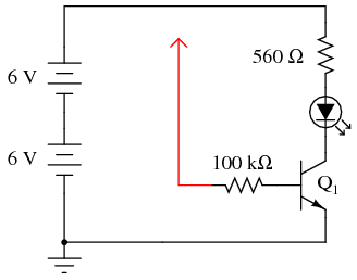 transistor as a switch discrete semiconductor circuits rh allaboutcircuits com transistor circuit diagram symbol transistor circuit diagram of 2sa1943 and 2sc5200