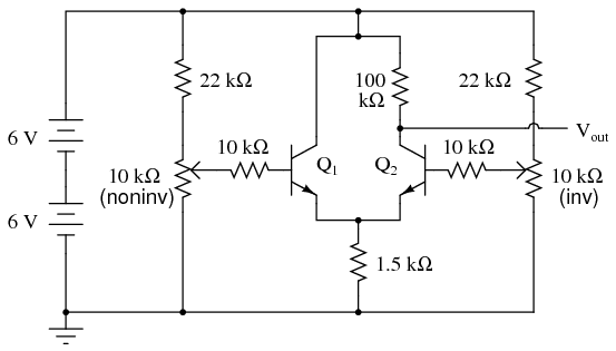 differential amplifier discrete semiconductor circuits rh allaboutcircuits com circuit diagram differential amplifier using fet define differential amplifier with circuit diagram