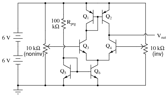 simple op amp discrete semiconductor circuits electronics textbook rh allaboutcircuits com circuit diagram of inverting operational amplifier internal circuit diagram of operational amplifier