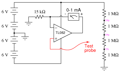 high impedance voltmeter analog integrated circuits electronics rh allaboutcircuits com analog voltmeter circuit diagram icl7107 voltmeter circuit diagram
