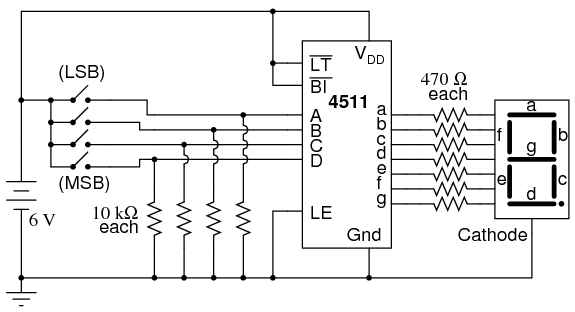 7 segment display digital integrated circuits electronics textbook rh allaboutcircuits com 7 segment display pin diagram 7 segment display pin diagram