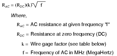 More on the skin effect reactance and impedance inductive table below gives approximate values of k factor for various round wire sizes keyboard keysfo Choice Image