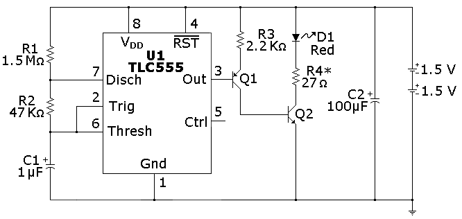 Circuit Diagram Of Led Flasher   Cmos 555 Long Duration Red Led Flasher 555 Timer Circuits