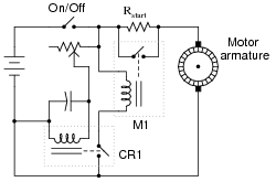 "dc motor control circuits dc electric circuits worksheets the relay labeled ""m1"" is a large ""contactor"" designed to shunt the motor s current around the start up resistor it requires at least a few amps of current"