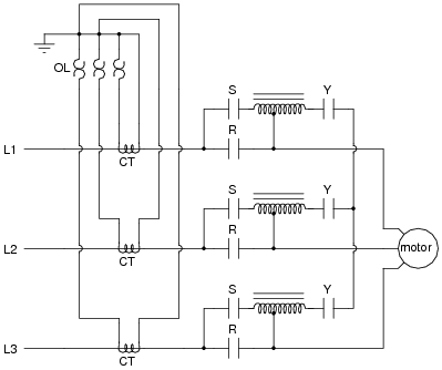"ac motor control circuits ac electric circuits worksheets ""l1 "" ""l2 "" and ""l3"" represent the three phase power supply conductors three sets of contacts r s and y serve to connect power to the motor at"