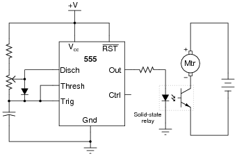 timer circuits digital circuits worksheets here is one possible solution to the problem of interfacing a 555 timer to a high voltage dc motor
