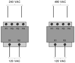 "step up step down and isolation transformers ac electric show the connections on the four ""h"" terminals necessary for 240 volt operation and also for 480 volt operation on the following illustrations"